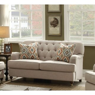 Loveseat With 2 Pillows, Beige Fabric by Charlton Home SKU:DD535919 Reviews