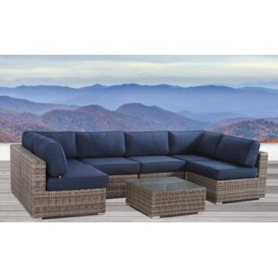 Fazio Resort Grade Set 7 Piece Rattan Sunbrella Sectional Seating Group