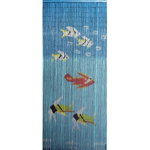 Fishes Graphic Print Text Semi Sheer Single Curtain Panel