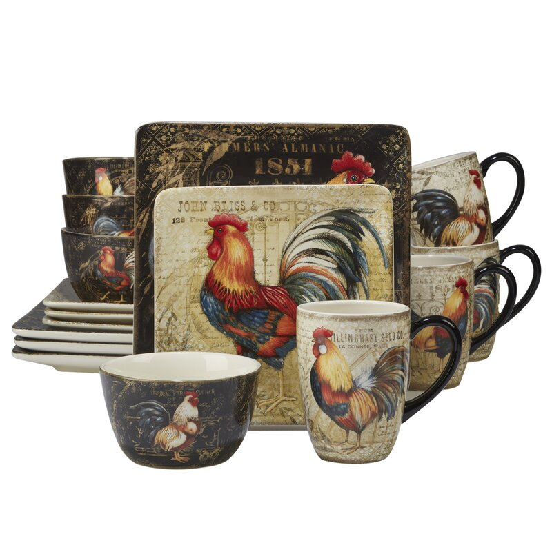 August Grove Friar Gilded Rooster 16 PieceDinnerware Set, Service for 4