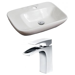 Order Ceramic Rectangular Vessel Bathroom Sink with Faucet By American Imaginations