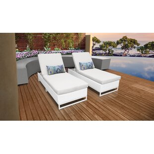 Miami Reclining Sun Lounger Set with Cushion (Set of 2)