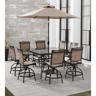 Bucher 9 Piece Counter Height Outdoor Dining Set With Umbrella