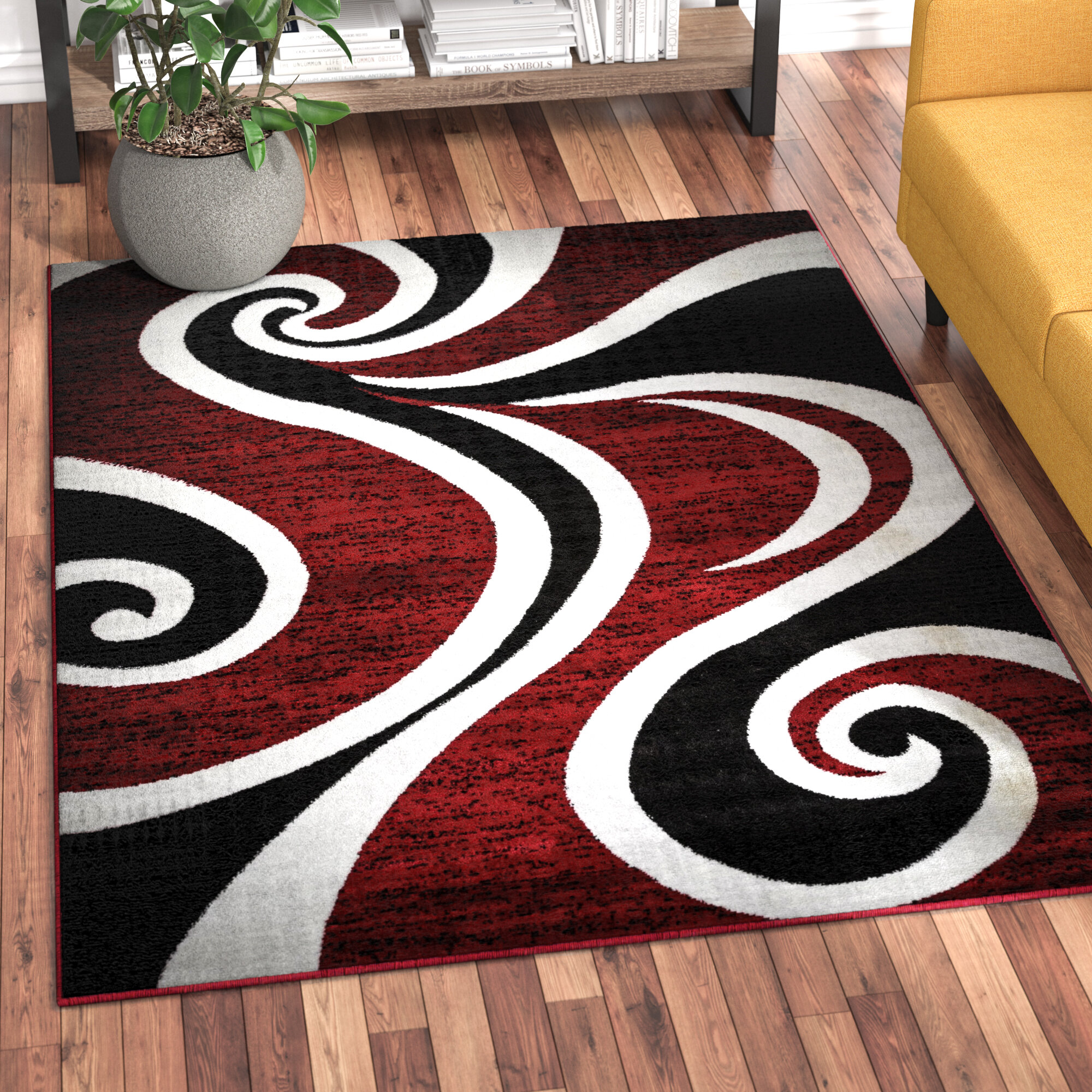 Collingwood Red Black White Area Rug