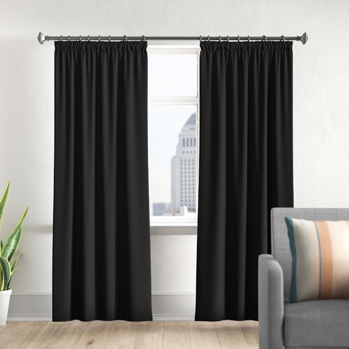 Pencil Pleat Blackout Thermal Curtains Marlow Home Co. Size