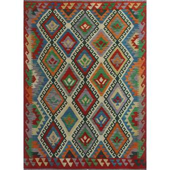 Foundry Select Hults Southwestern Handmade Kilim Wool Red Area Rug Wayfair