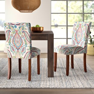 Giana Paisley Upholstered Parsons Chair (Set of 2)