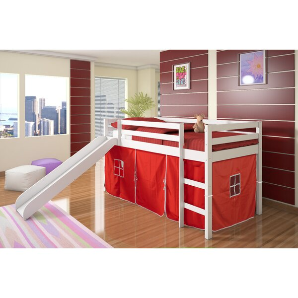 Loft Bed Images donco kids tent twin low loft bed with slide & reviews | wayfair