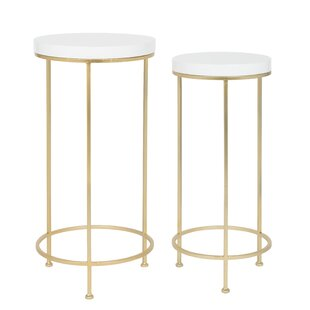 Shona Metal and Wood 2 Piece Nesting Tables by Mercer41
