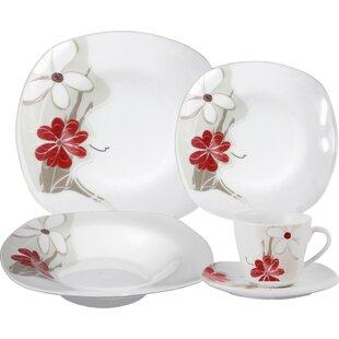 Porcelain 20 Piece Square Dinnerware Set Service for 4  sc 1 st  Wayfair & Square White Dish Set | Wayfair
