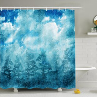 Affordable Grunge Sky Foggy Night Shower Curtain Set By Ambesonne