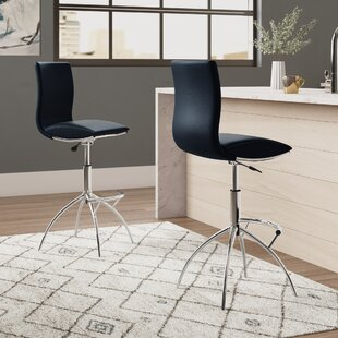Shen Adjustable Height Swivel Bar Stool (Set of 2) Wade Logan
