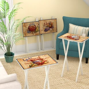Mcgovern Coastal Market TV Tray with Stand (Set of 4) by Rosecliff Heights