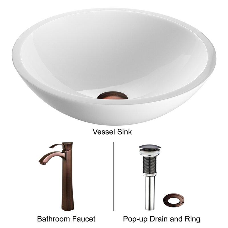 VIGO Flat Edged White Phoenix Glass Circular Vessel Bathroom Sink ...