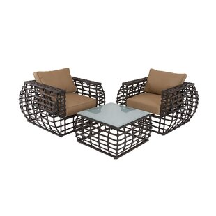 3 Piece Rattan Sofa Set with Cushions