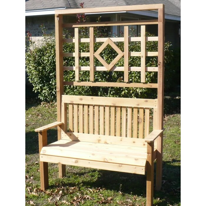 Sensational Colby Cedar Trellis Arbor Garden Bench Bralicious Painted Fabric Chair Ideas Braliciousco