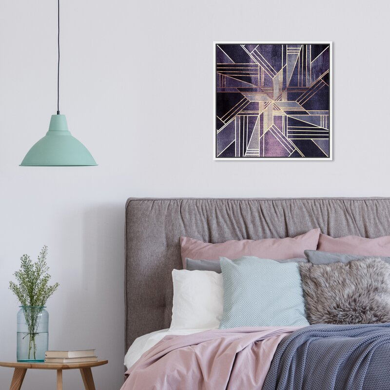 Geometric Wall Decorations - Abstract Lavender Deco Geometric - Graphic Art Print
