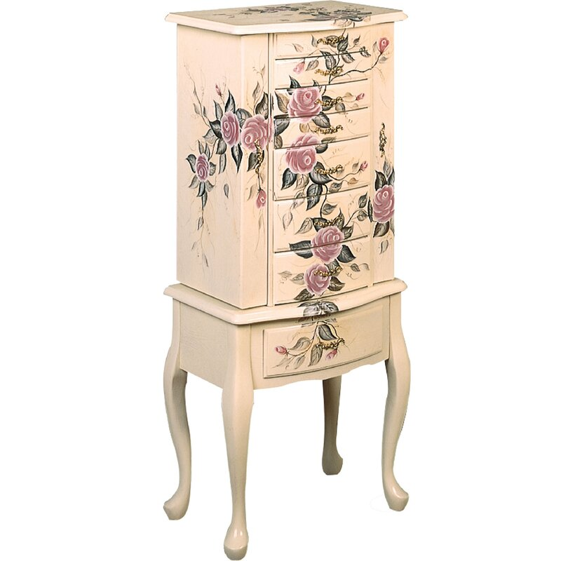 One Allium Way Ottilie Free Standing Jewelry Armoire with ...