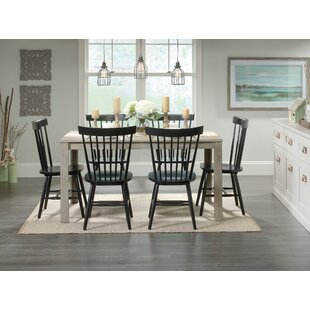 Brixton 7 Piece Solid Wood Dining Set Highland Dunes