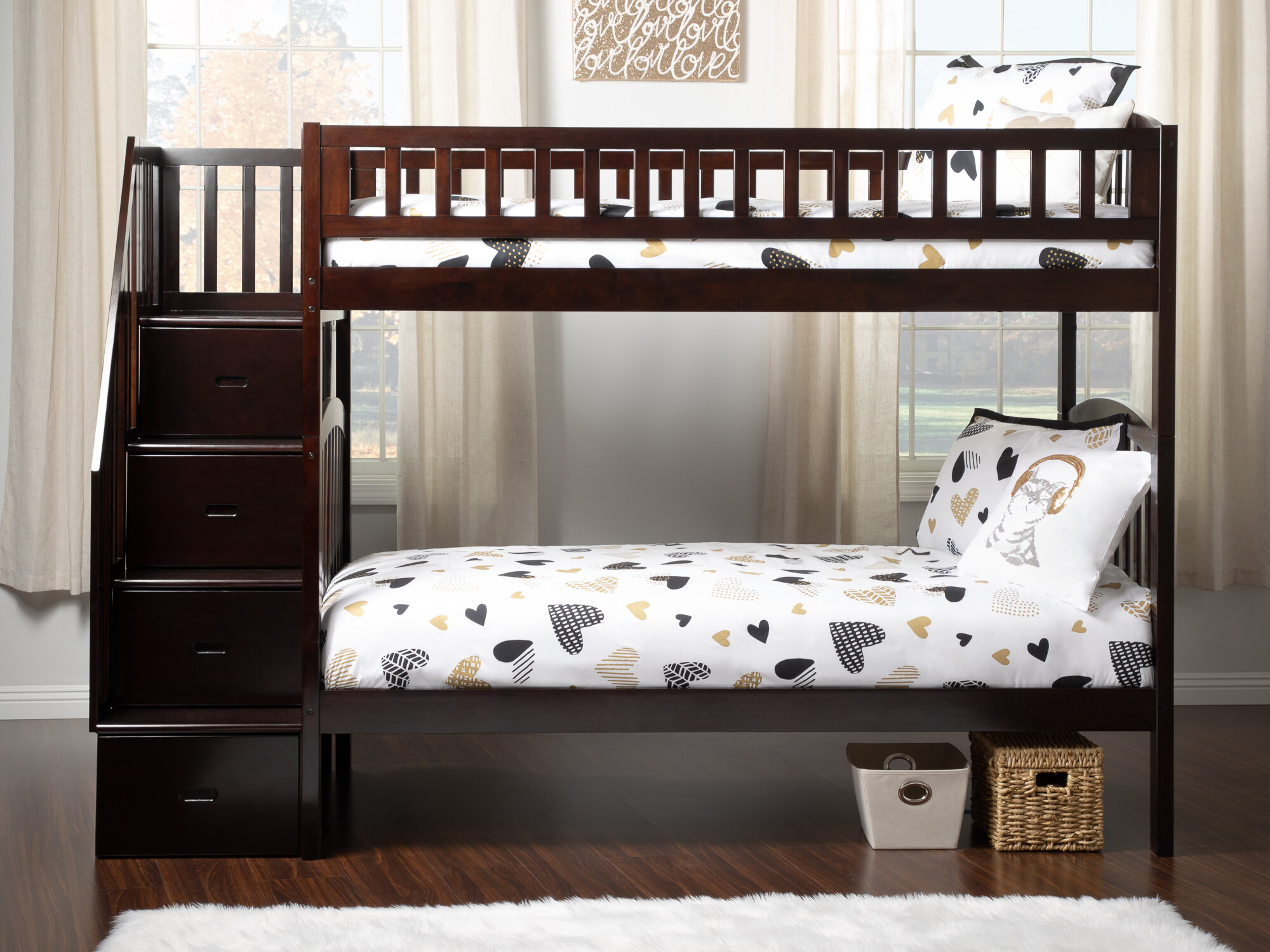 Picture of: Harriet Bee Salem Staircase Twin Over Twin Bunk Bed With Drawers Wayfair