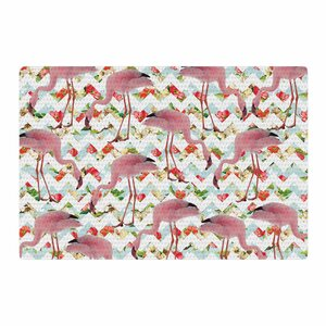 Suzanne Carter Flamingo Chevron and Roses Digital Pink Area Rug