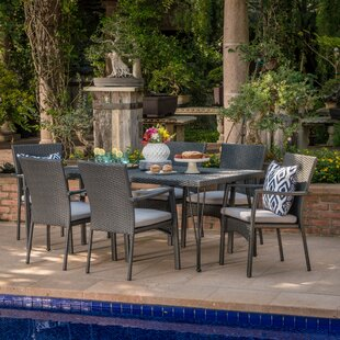 Ivy Bronx Skyla Outdoor Wicker 7 Piece Dining Set with Cushions