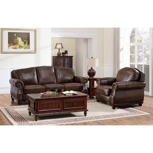 Three Posts Mendenhall Leather 2 Piece Living Room Set Image