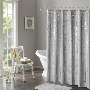 Mangesh Printed Metallic Shower Curtain