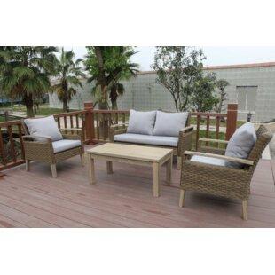 W Unlimited Bari 4 Piece Sofa Set with Cushions