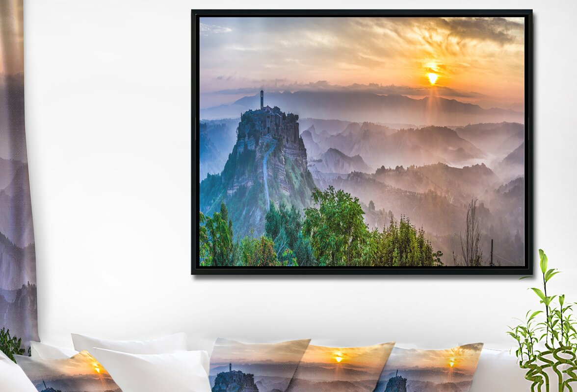 East urban home bagnoregio at dusk italy panorama framed bagnoregio at dusk italy panorama framed graphic art print on wrapped canvas jeuxipadfo Gallery
