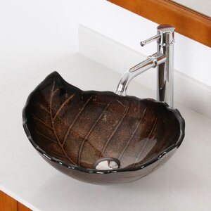 Hot Melted and Hand Painted Autumn Leaf Shaped Bow Glass Specialty Vessel Bathroom Sink with Overflow