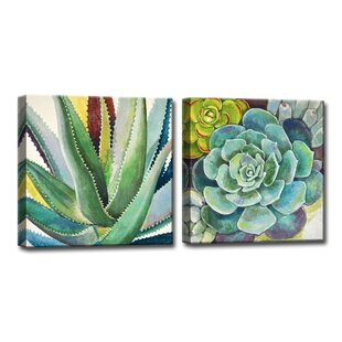 U0027Brilliant Succulents I/IIu0027 2 Piece Painting Print On Wrapped Canvast Set