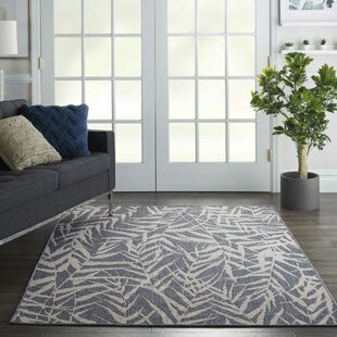 Roxy Leaves Slate Gray Indoor/Outdoor Area Rug