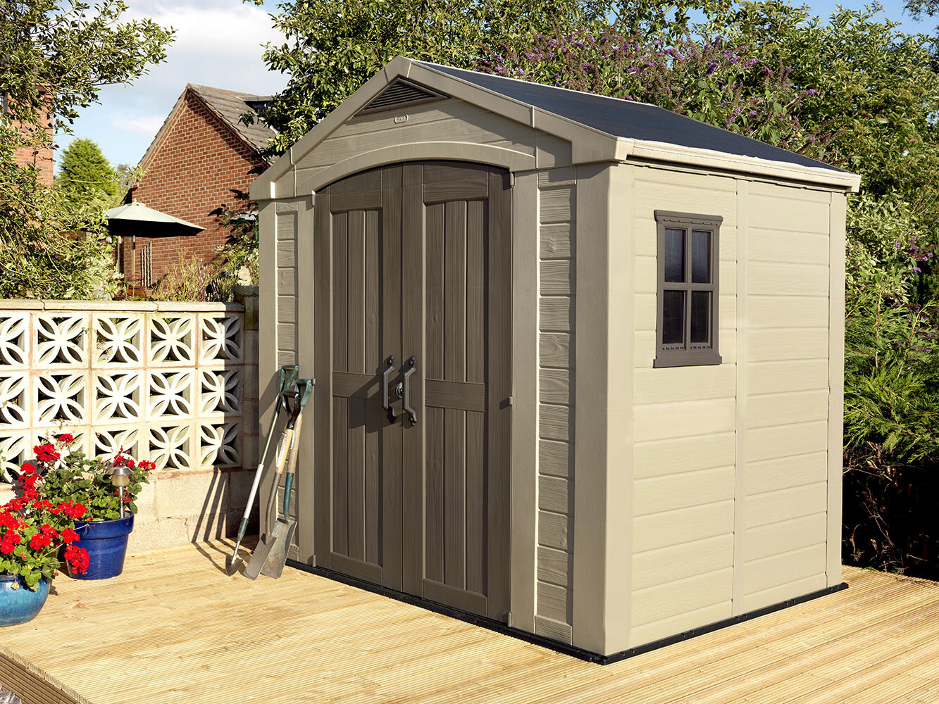 keter factor 8 ft 5 in w x 6 ft d plastic storage shed reviews