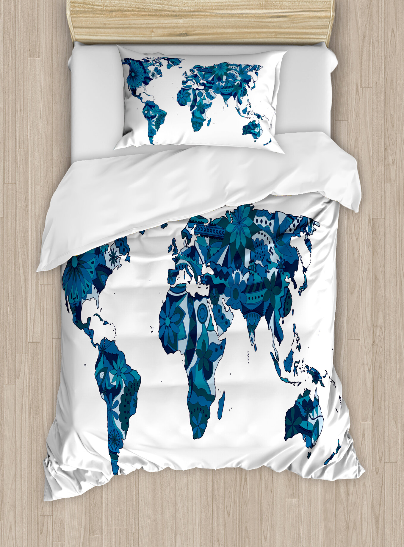 World Map Lilac Flowers Covered Earth Continents Unusual Eco Plants Globe  Display Duvet Cover Set