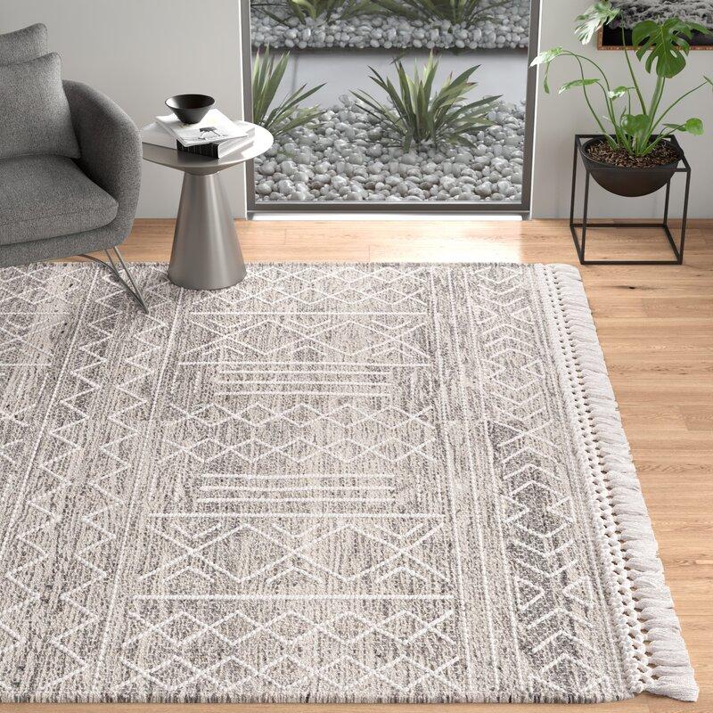 Cypres Geometric Hand Tufted Wool Ash Gray Area Rug Reviews Allmodern