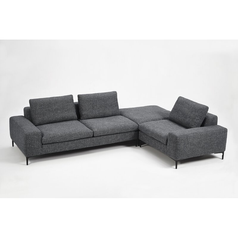 Groovy Whitney Right Hand Facing Modern Modular Sectional With Ottoman Pabps2019 Chair Design Images Pabps2019Com