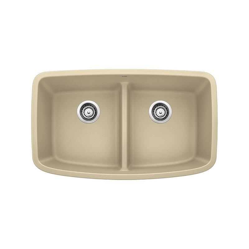 "Blanco Valea 32"" L  x  19"" W Double Basin Undermount Kitchen Sink  Finish: Biscotti"