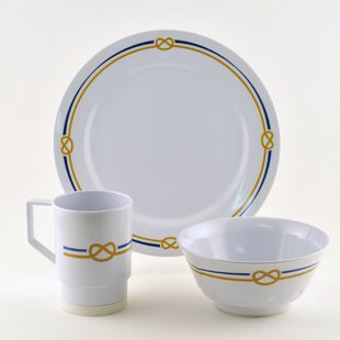 Decorated Rope Melamine 12 Piece Dinnerware Set, Service for 4