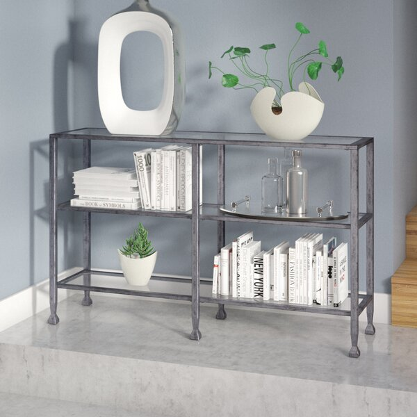 Orren Ellis Casas Metal/Glass 3 Tier Console Table/Media Stand   Silver U0026  Reviews | Wayfair