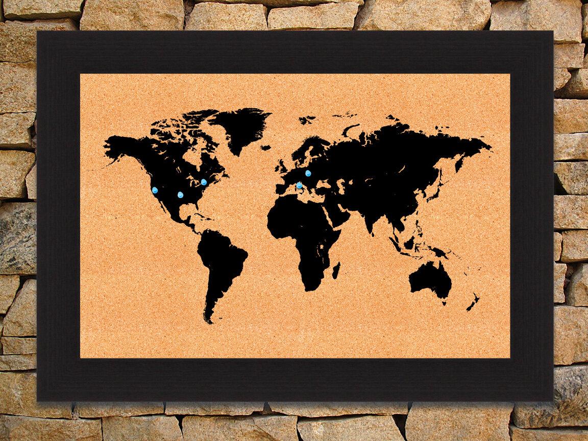 Hadleyhouseco world map wall mounted bulletin board wayfair gumiabroncs Gallery