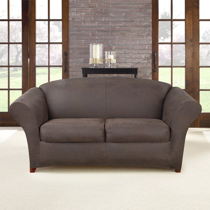 Wondrous Ultimate Stretch Box Cushion Loveseat Slipcover Short Links Chair Design For Home Short Linksinfo