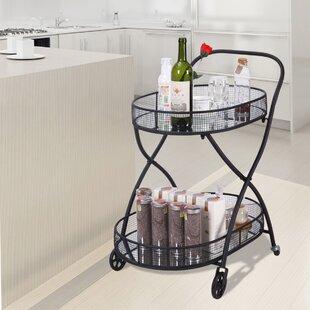 Gracie Oaks Tyra Kitchen Serving Bar Cart