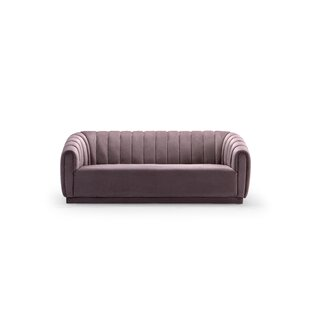 Darley Velvet Upholstered Vertical Channel-Quilted Shelter Sofa by Everly Quinn Modern