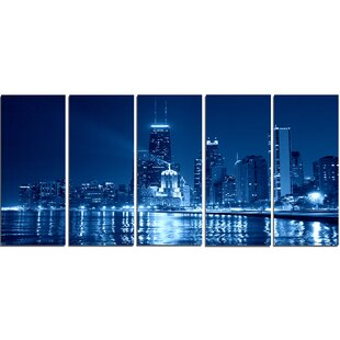 Blue Chicago Skyline Night 5 Piece Wall Art On Wrapped Canvas Set