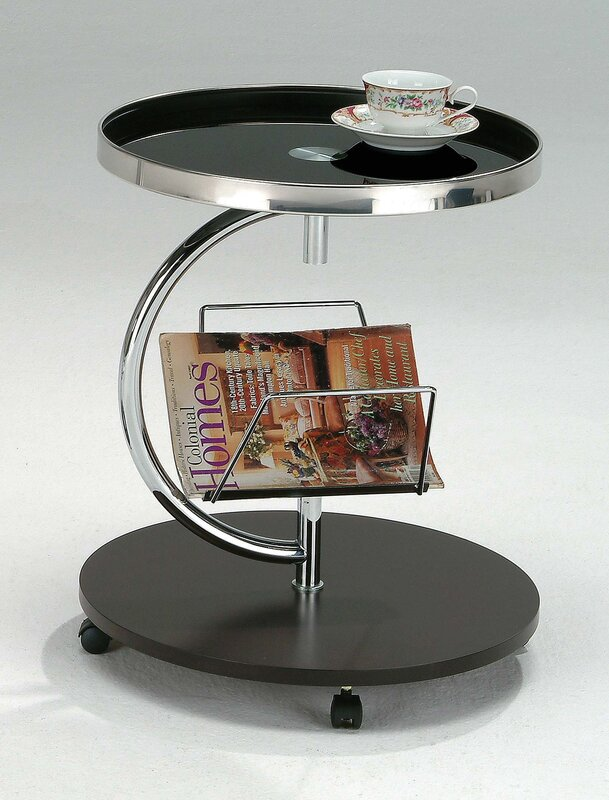 Black End Table with Magazine Rack And Wheels