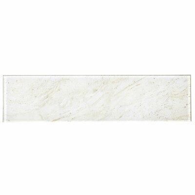 Abolos Abolos Nature Stone Look Rectangle 4 in. x 16 in. Glass Handmade Backsplash Bathroom Subway Wall Tile Color: Crema Marfil Beige