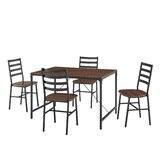 Enrique Industrial Angle 5 Piece Dining Set by Gracie Oaks