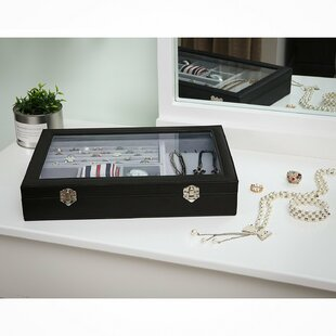 Reviews Large Accessory Tray with Glass ByWinston Porter