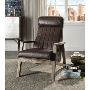 Blume Faux Leather Upholstered Wooden Stitched Back Armchair by Foundry Select